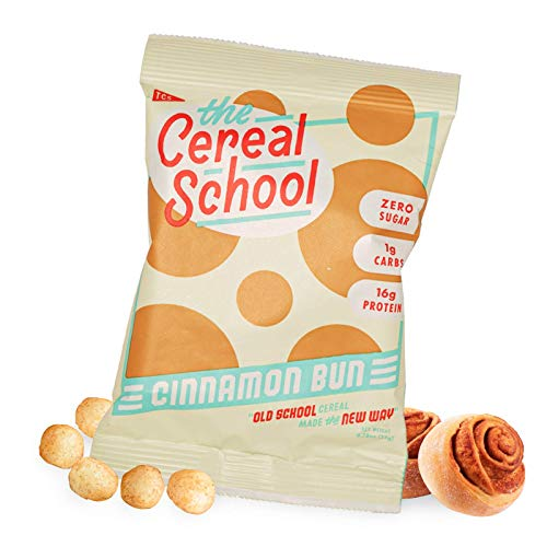 Schoolyard Snacks Low Carb Keto Cereal - Cinnamon Bun - 12 Pack x 26g Single Serve Bags - High Protein with Only 100 Calories Per Bag - All Natural Ingredients, Gluten, and Grain-Free, Non-GMO