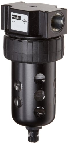 Parker 06F32AC Compressed Air Filter, Removes Particulate, Polycarbonate Bowl with Metal Bowl Guard, Manual Drain, 40 Micron, 85 scfm, 1/2