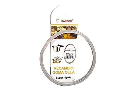 Sanfor 58019 Junta de Goma de Sellado para Tapa rápida Adaptable a Olla a presión Fagor | Silicona | Gris | 22 x 22 x 2 cm