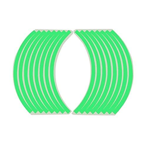QOHFLD 2 Hojas, calcomanía Reflectante Fluorescente Universal, Cinta Adhesiva para llanta de Rueda de Coche, Pegatina DIY, Accesorios de Motocicleta para Coche, 36 cm x 1 cm