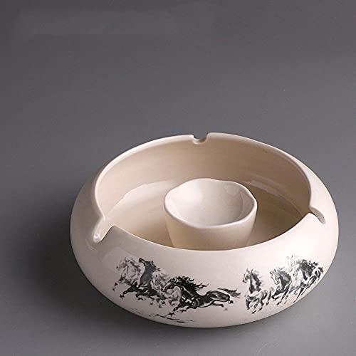 Cenicero de oficina en casa de sala de estar multifunción de cerámica retro europea-Eight Junjun - Cenicero 14.2 * 11 * 5cm