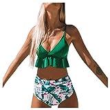 Traje de Baño Bikini Mujer 2020 Bikinis Sexy con Volantes y Estampado Liso Brasileño BañAdores de Dos Piezas Tops y Braguitas Ropa de Playa vikinis riou