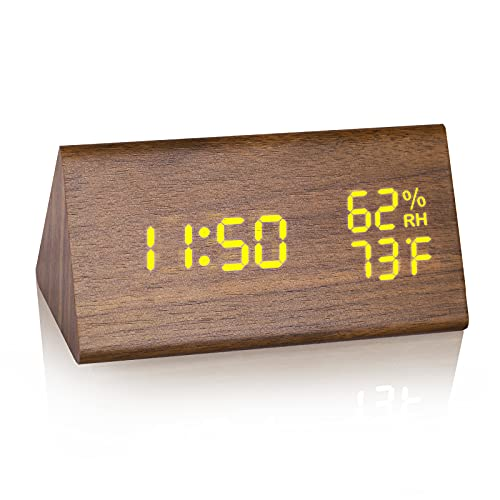 JCHORNOR Wood Digital Alarm Clock, Led Time Display Wooden Digital Desk Clock with 6 Levels Brightness, Temperature Humidity Detect Triangle Electric Bedside Clock for Bedroom, Beside, Kid Room-Brown