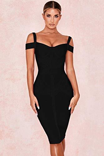MA Vestido ceñido al Cuerpo con Hombros Descubiertos para Mujer, Vestido Sexy con Tirantes Finos Rojo Vino, Vestidos de Fiesta de Noche para celebridades-Negro_XS