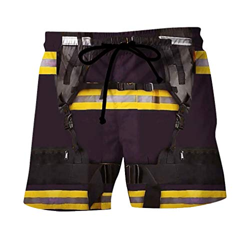 Xniral 3D Druck Feuerwehrmann Shorts Elastische Taille Lose Kurze Hosen Cosplay Kostüm(Marine,4XL)