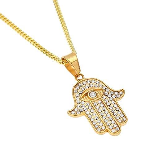 JIEZ Colgante de Manos de Hamsa de Color Dorado de Acero Inoxidable, joyería de Mano de Fátima con Diamantes de imitación Helados con Cadena Cubana de 3 mm y 24 Pulgadas