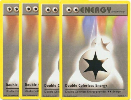Kstamps Double Colorless Energy - 90/108 4 Card Set - XY Evolutions - Non Holo - Guaranteed Authentic Card - NM/M