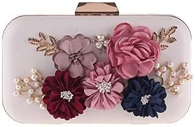 Women's Evening Handbags Hand Holding Rose Bag Dinner Bag Fashion Girl Banquet Small Party Bag (Color : White)