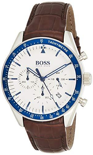 Hugo BOSS Reloj Cronógrafo para Hombre de Cuarzo con Correa en Cuero 1513629, Blanco
