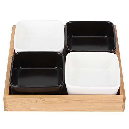 Bandeja de frutas, plato de refrigerio ecológico para la decoración del hogar(Cuatro rejillas 2 blancas 2 negras, azul)