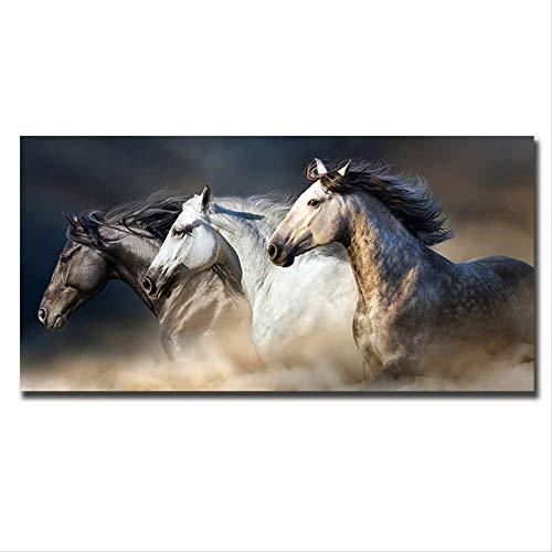 Zwart-wit drie zwart-wit paard canvas schilderij moderne frameloze kunst aan de muur poster foto decoratie kantoor aan huis 70x140cm geen frame