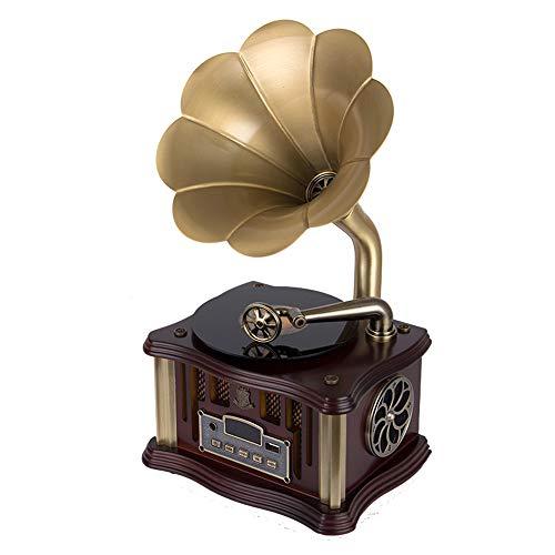 JIASHU Bluetooth Plattenspieler Plattenspieler, tragbare Version Grammophon Vintage Retro-Stil Subwoofer Lautsprecher/Aux-In, CD, FM/AM-Radio, Geschenk für Wohnkultur