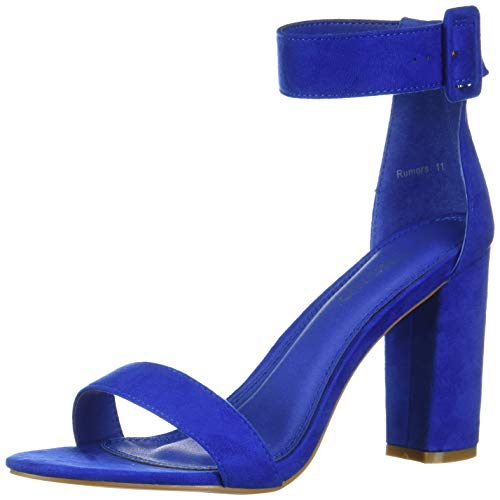 Herstyle Rumors Women's Fashion Chunky Heel Sandal Open Toe Wedding Pumps with Buckle Ankle Strap Evening Party Shoes Royal Blue 9.0