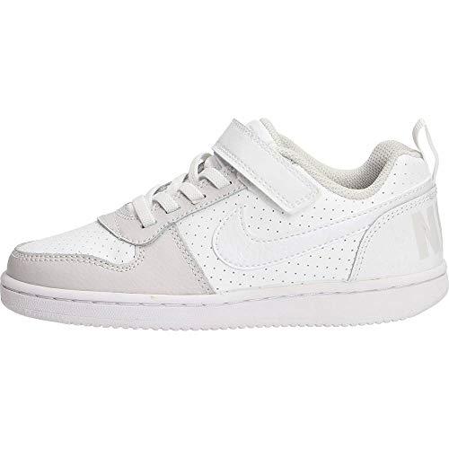 Nike Jungen Mädchen Court Borough Low (PSV) Basketballschuhe, Mehrfarbig (White/White/Vast Grey/White 104), 34 EU