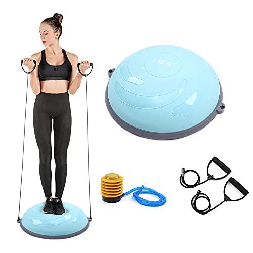 ISE Balance Trainer, Tabla de Equilibrio para Entrenamiento Hemisférico con Bandas de Resistencia para Yoga Fitness, Entrenamiento de Estabilidad, Rehabilitación y Gimnasio, BAS-1004