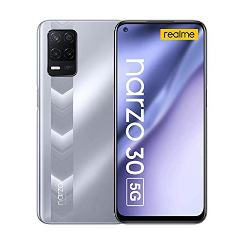 "Realme Narzo 30 5G Smartphone 6.5"" Fluid Display 90Hz Grande Batteria 5000mAh RAM 4GB ROM 128GB Espandibile Storage 48MP AI Triple Camera Dual SIM NFC Android 11 (Argento)"