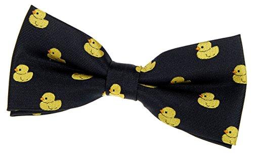 Pajarita con nudo hecho, diseño de patos de goma, tejido de microfibra de 11.5 cm, varios colores, de la marca Retreez negro negro Talla única