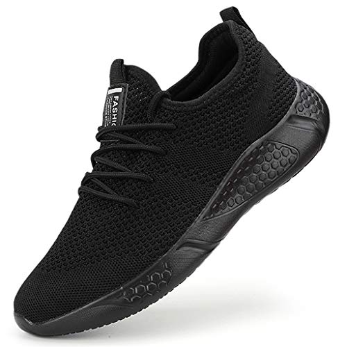 Damyuan Men's Athletic Walking Shoes Lightweight Gym Mesh Comfortable Trail Athletic Running Shoes Black,9.5