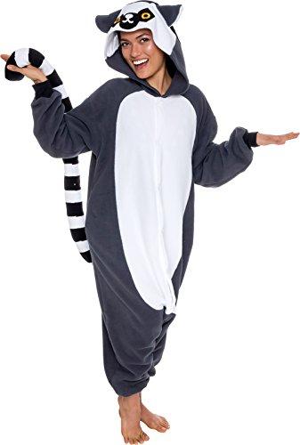 Silver Lilly Unisex Adult Pajamas - Plush One Piece Cosplay Lemur Animal Costume (Gray/White, Small)