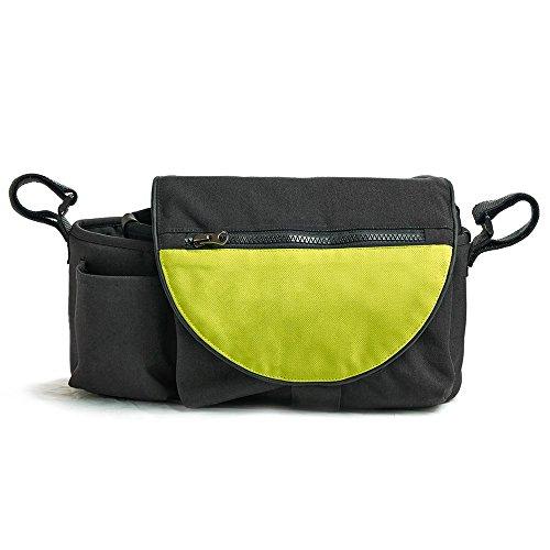 Borsa borsetta da maniglione organizer 2-in-1 per passeggino pratica e utile - Verde e nera