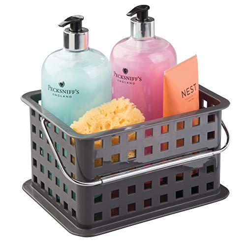 InterDesign Basic corbeille rangement, petit panier salle de bain en plastique pour accessoires de douche et soins, gris ardoise