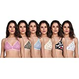SK Dreams Women Cotton Non Padded Non-Wired Regular Bra (Pack of 6) (Sixprint-bra-34_Multicolored_34)