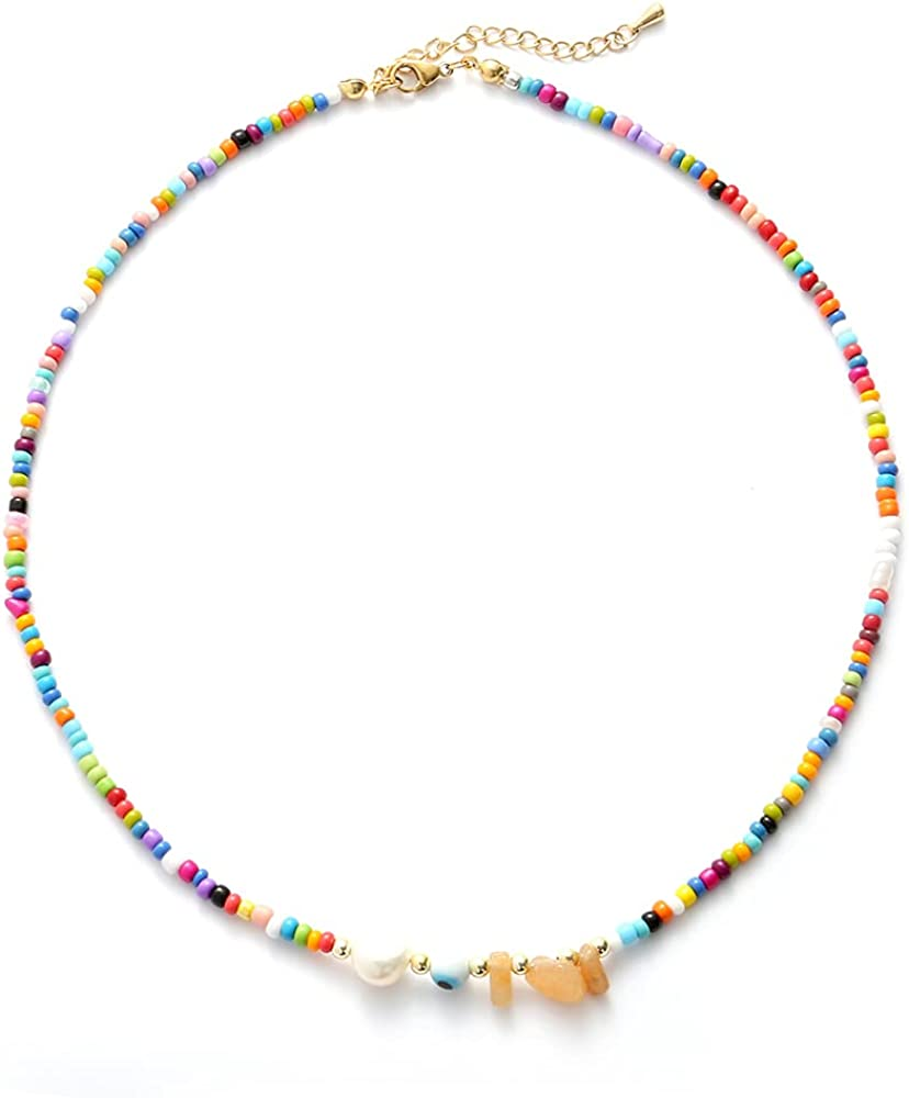 14K Gold Plated Stainless Steel Natural Stone,Seed Bead .Pearl Colorful Seed Choker Beaded Necklace for Girls. Y2K Beaded Necklace for Womens. Vsco Style Necklace.…