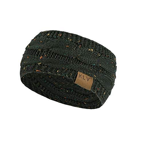 ODJOY-FAN Männer Frau Haar Ball Stricken Stirnband Elastisch Handarbeit Sport Haar Band Turban Mode Farbpunkt Punktgarn Stricken Sport Hairband (22x11cm)(Armeegrün,1 PC)