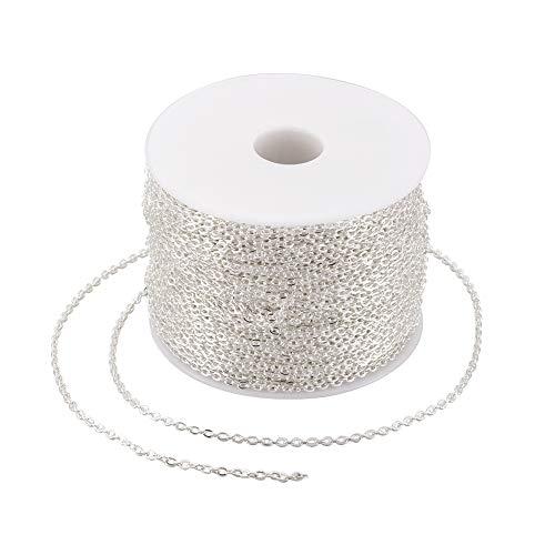 100 m/rollo de cadena de eslabones de hierro de plata de 3 x 2 mm sin soldar, cadenas de cable ovaladas planas para collares, accesorios de joyería DIY
