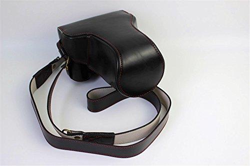 Eos M3 Camera Case, Zakao PU Fullbody Bottom Opening Versie Beschermende Lederen Camera Case Bag voor Canon EOS M3 18-55mm 55-200mm Lens met Schouderband, Zwart