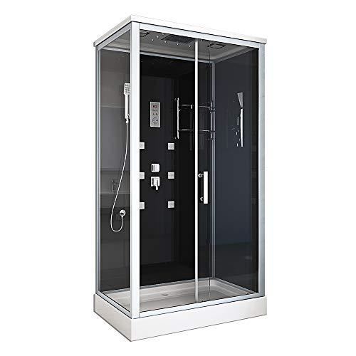 Home Deluxe - Komplettdusche 120x80 - Duschkabine Wave XL mit Regendusche | Duschtempel, Fertigdusche, Dusche Komplett