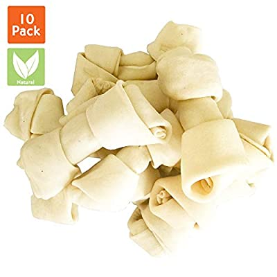 Pet Magasin [Extra 90% OFF Natural Rawhide Bones - Chewing Dog Treats with High Protein & Low Fat for Healthy Dog Teeth & Behavior (10 Counts)