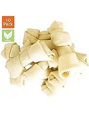 PET MAGASIN - Huesos de Cuero Crudo Natural – Delicias masticables para Perros Altamente proteicas y Bajas en Grasa para los Dientes y el Comportamiento de los Perros sanos, 10 Unidades (Medio)