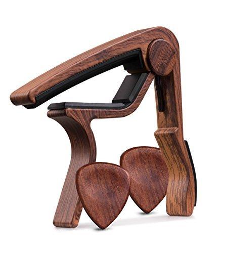 TimbreGear Kapodaster, palisanderfarben, inkl. Plektren aus Echtholz (2 Stück), Set für Akustik- und E-Gitarre, ermöglicht einfaches transponieren 1 Pack Of rosewood