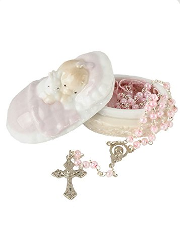 Pink Rosary in a Porcelain Keepsake Box Christening Baptism Gift