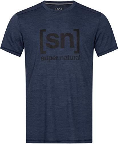 super.natural Tee-shirt Imprimé Manches Courtes pour Hommes, Laine Mérinos, M LOGO TEE, Taille: M, Couleur: Bleu foncé chiné/Noir