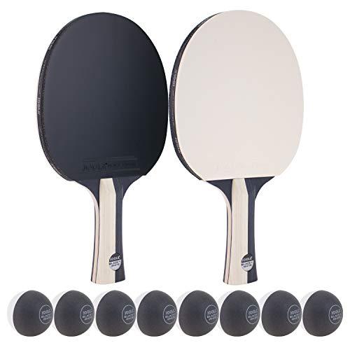 JOOLA Tischtennis-Set Black&White Bestehend aus 2 Tischtennisschläger 8 Tischtennisbälle - Ideal für Familien und Freizeitsport, Schwarz/Weiss, Einheitsgröße