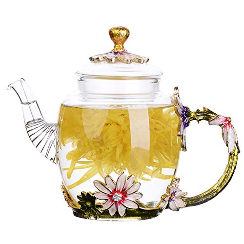 Enamel Glass Teapot, Wisolt Blooming & Loose Leaf Kettle in Gift Box, Perfect Gift for Wife, Mum, Girl, Teacher on Birthday, Valentine's Day, Mother's Day, Anniversary, 300ML/12OZ