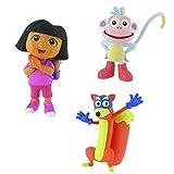 Comansi Lote 3 Figuras Dora la Exploradora - Dora Ilusión - Botas - Swipper