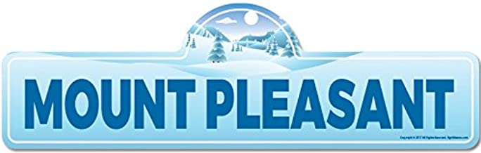 Mount Pleasant Street Sign | Indoor/Outdoor | Skiing, Skier, Snowboarder, Décor for Ski Lodge, Cabin, Mountian House | SignMission Personalized Gift