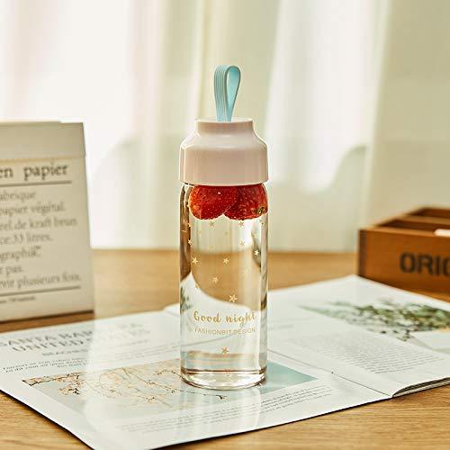 gendies Bicchiere da Acqua Portatile in Vetro borosilicato di Alta Moda 350 ml SM-9215 Rosa