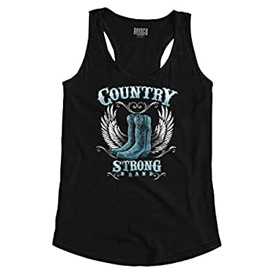 Country Strong Boots Wings Cowgirl Southern Racerback Tank Top Black