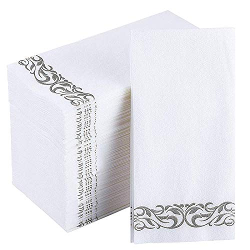 Jolly CHEF Disposable Hand Towels, Soft and Absorbent Line-Feel Dinner Napkin, Elegant Decorative Paper Guest Towels for Kitchen, Bathroom,Weddings,Parties, Silver and White