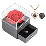 Skalago Preserved Real Rose Drawer with Heart Necklace I Love You in...