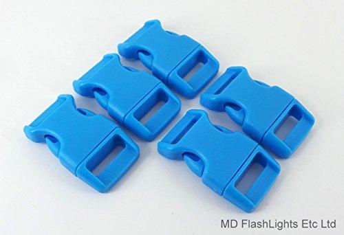 5 X 15 mm 5/20,3 cm Acide Bleu profilée incurvée Quick Release Paracord Bracelet de survie Boucles