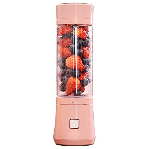 XUE-BAI 480ML Licuadora portátil, USB Recargable 6 Cabezal de Corte Juicer Cup, Fruta, Batido, Mezcla de Alimentos para Bebés con Motor Potente/pink