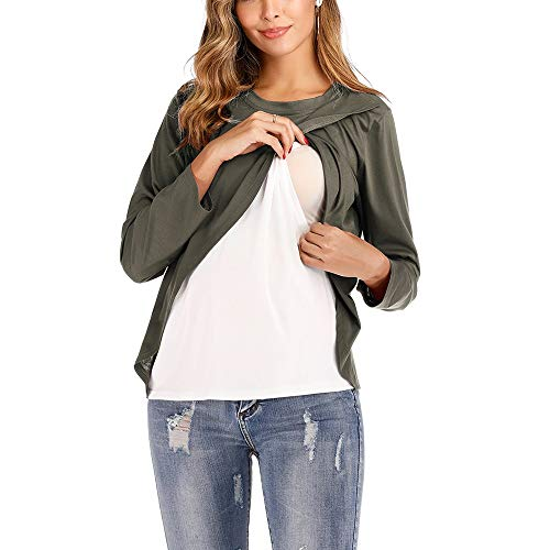 Jasje Ronde hals Maternity Borstvoeding Blouse, Fabric: polyester (Color : Army Green, Size : XL)