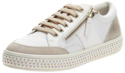 Geox Damen D LEELU' E Sneaker, White/Champagne, 38 EU