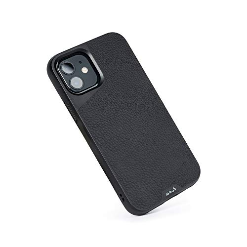 Mous Grenzenlose 4.0 gesprenkelte Schutzhülle aus Bambus für iPhone 12/12 Pro schwarzes Leder