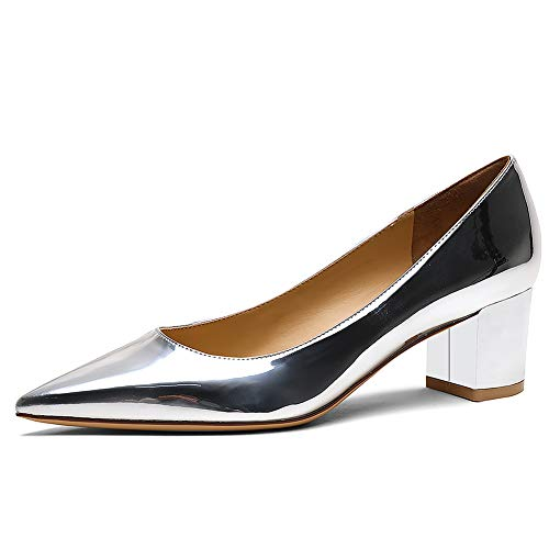 Zoducaran 5CM Heel Elegante Mujer Pumps Mid Heels Ponerse Business Zapatos Basic Pointed Toe Boda Dress Zapatos Party Heels Patent Silver Size 38